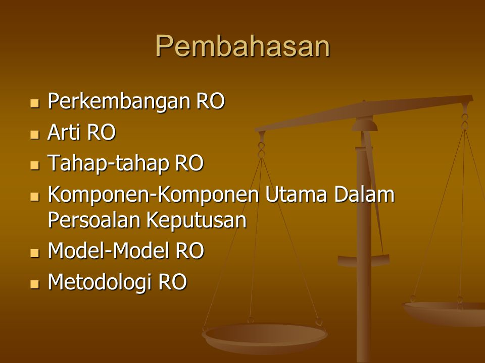 Pembahasan Perkembangan RO Arti RO Tahap-tahap RO