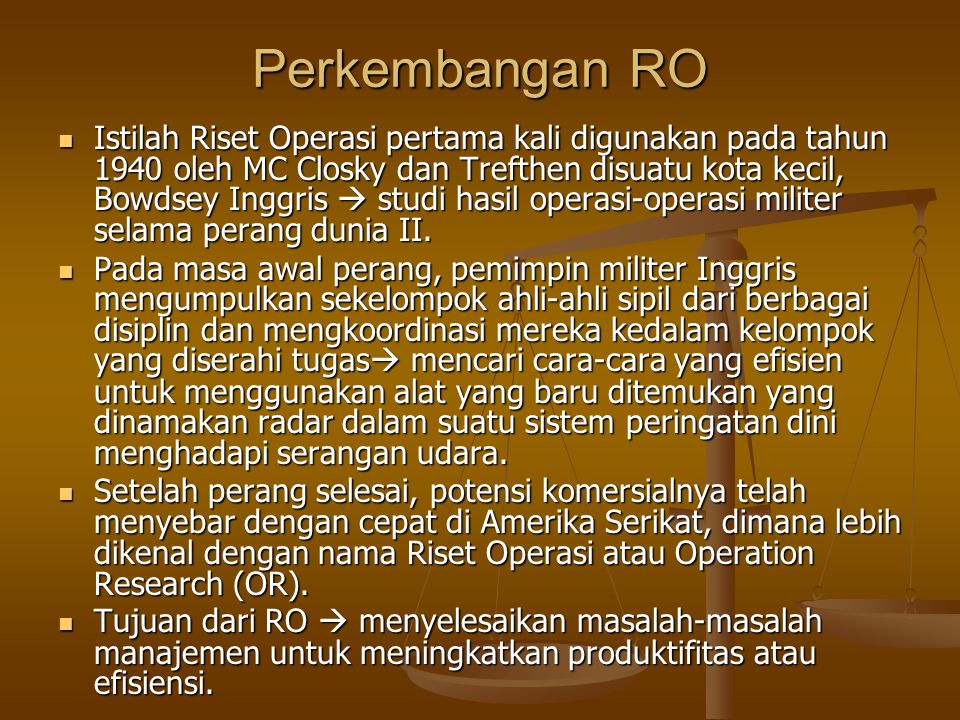 Perkembangan RO