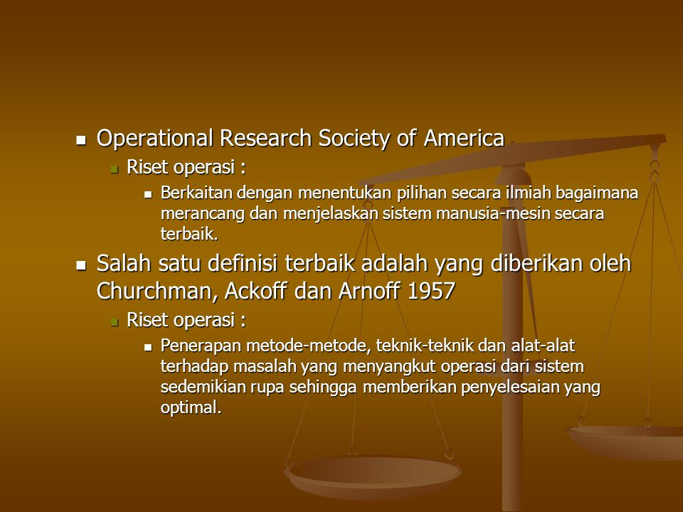 Operational Research Society of America