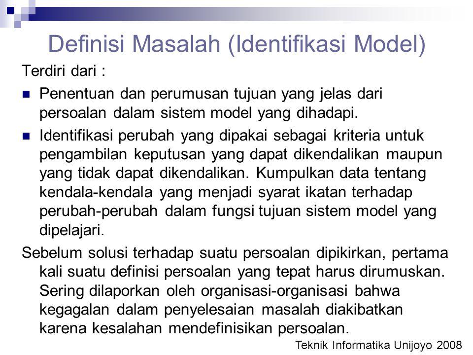 Definisi Masalah (Identifikasi Model)