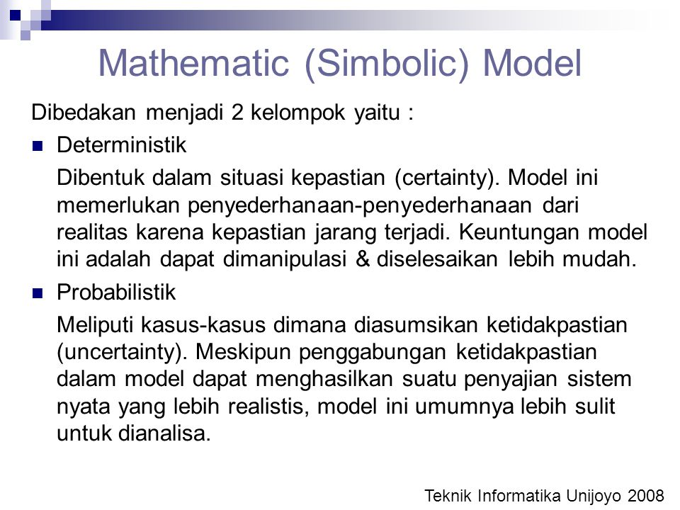 Mathematic (Simbolic) Model