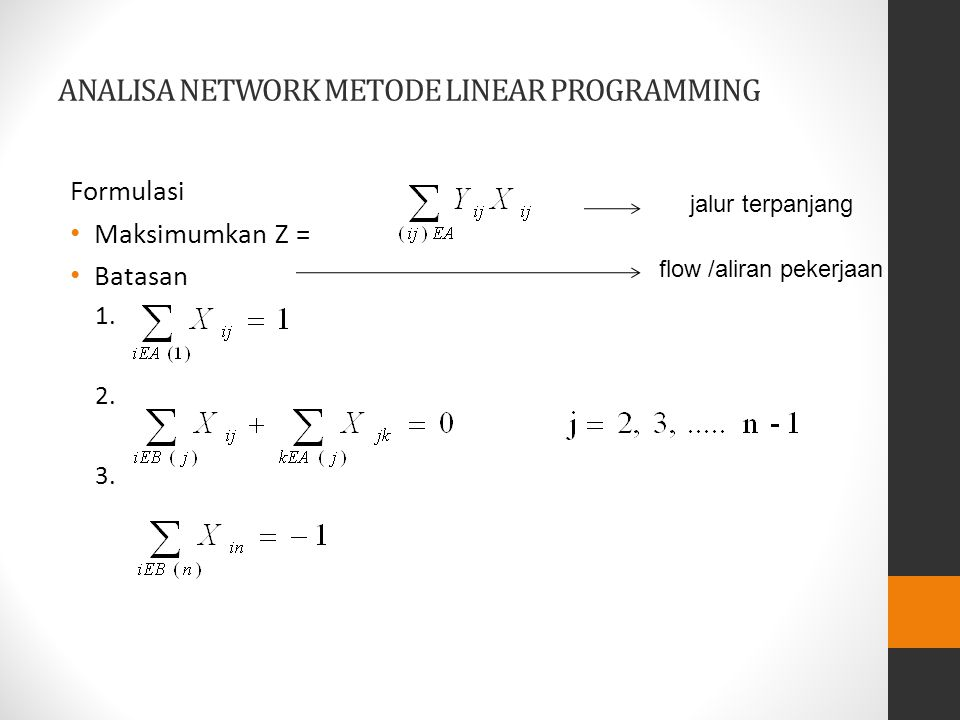 ANALISA NETWORK METODE LINEAR PROGRAMMING