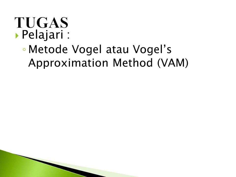 TUGAS Pelajari : Metode Vogel atau Vogel's Approximation Method (VAM)