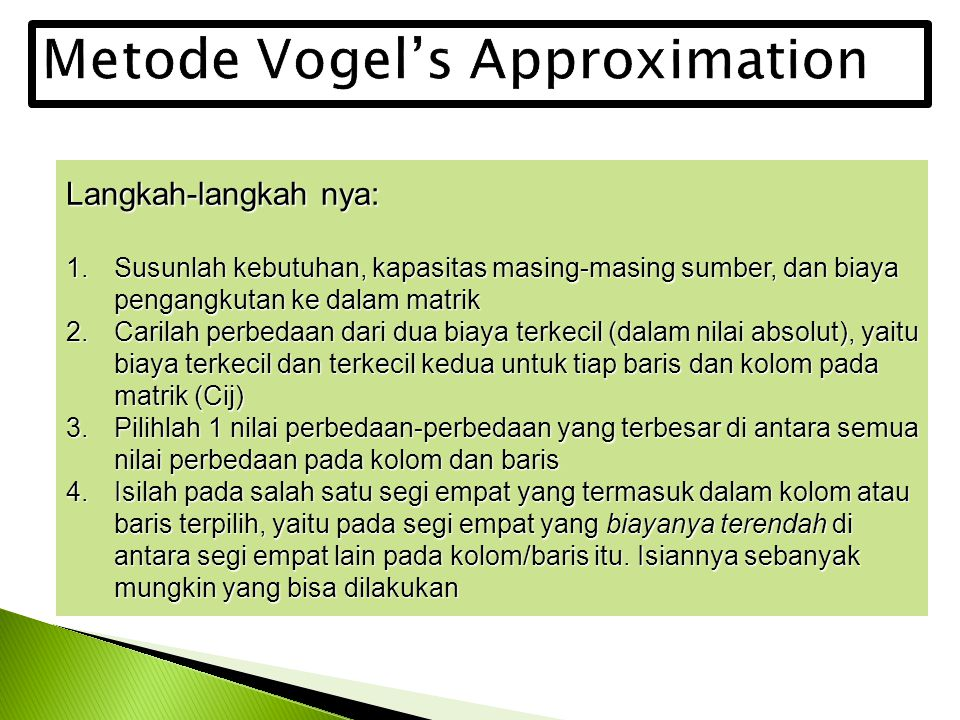 Metode Vogel's Approximation