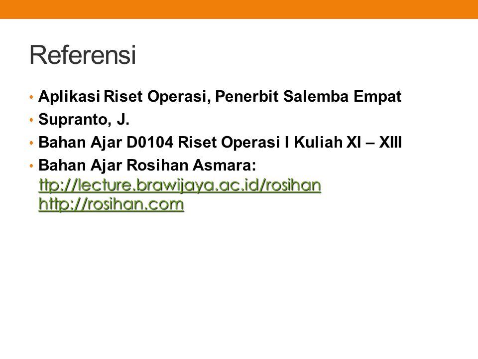 Referensi Aplikasi Riset Operasi, Penerbit Salemba Empat Supranto, J.