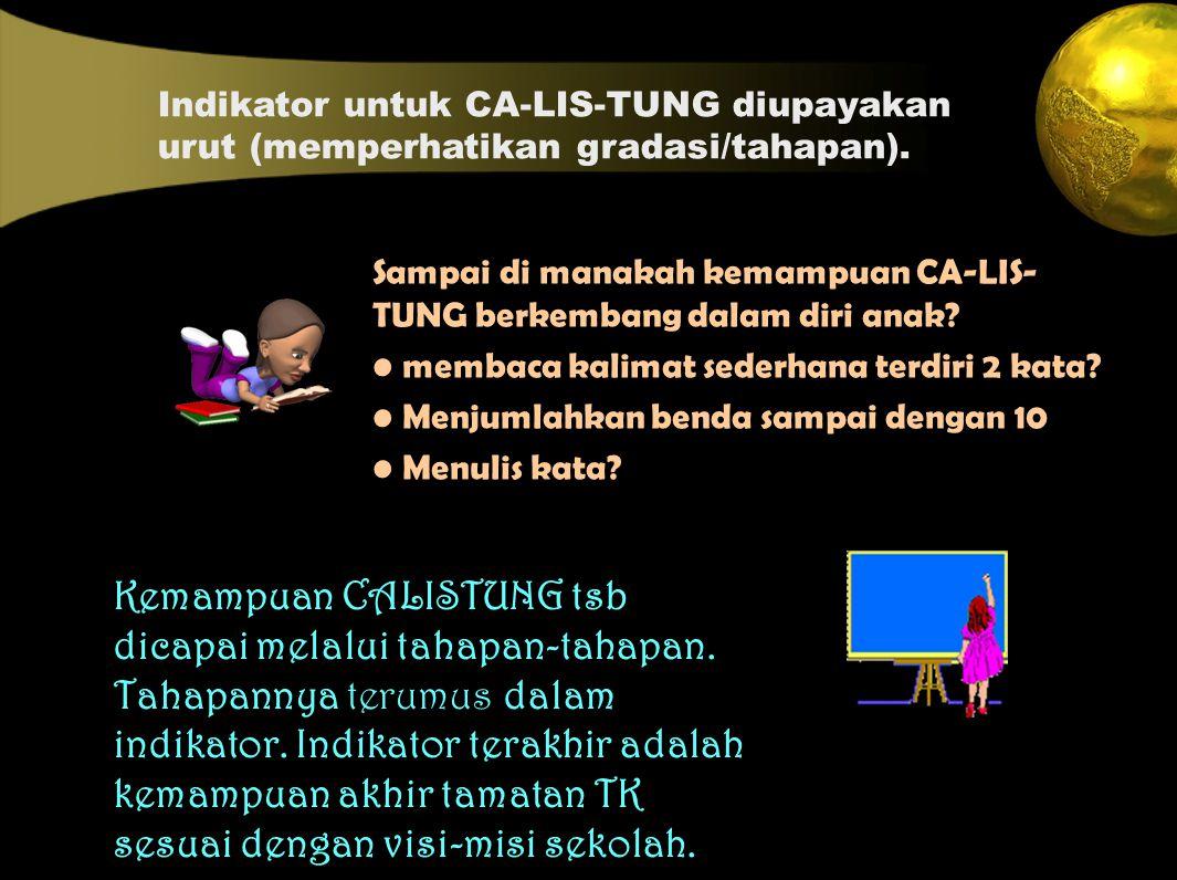 Indikator untuk CA-LIS-TUNG diupayakan urut (memperhatikan gradasi/tahapan).