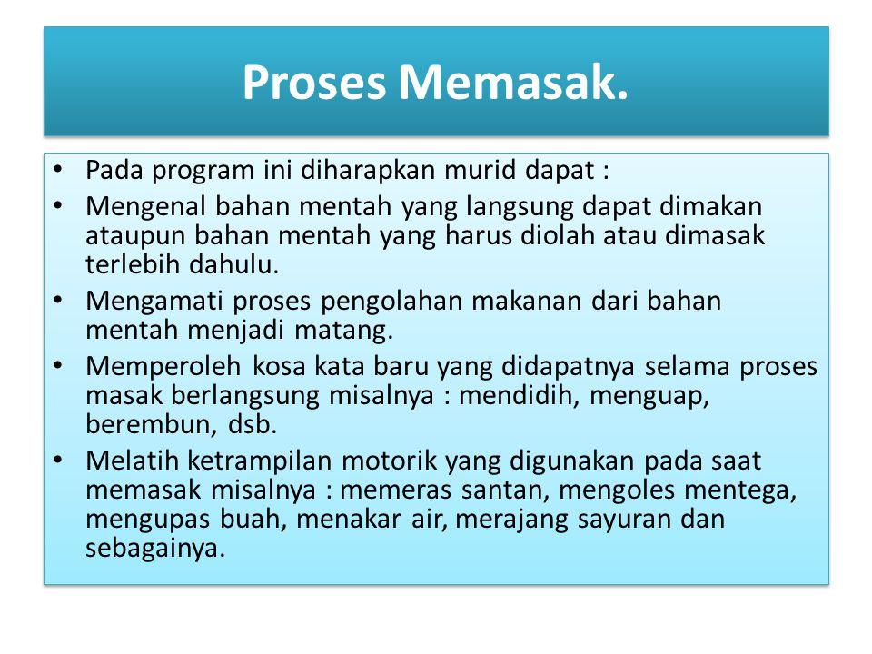 Proses Memasak. Pada program ini diharapkan murid dapat :