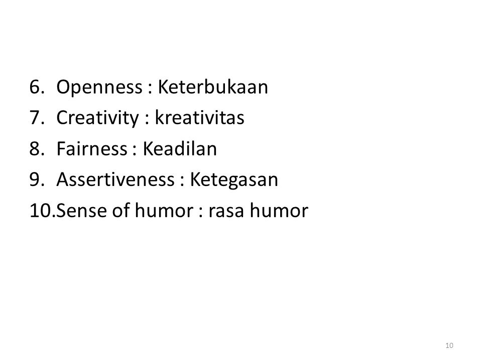 Openness : Keterbukaan