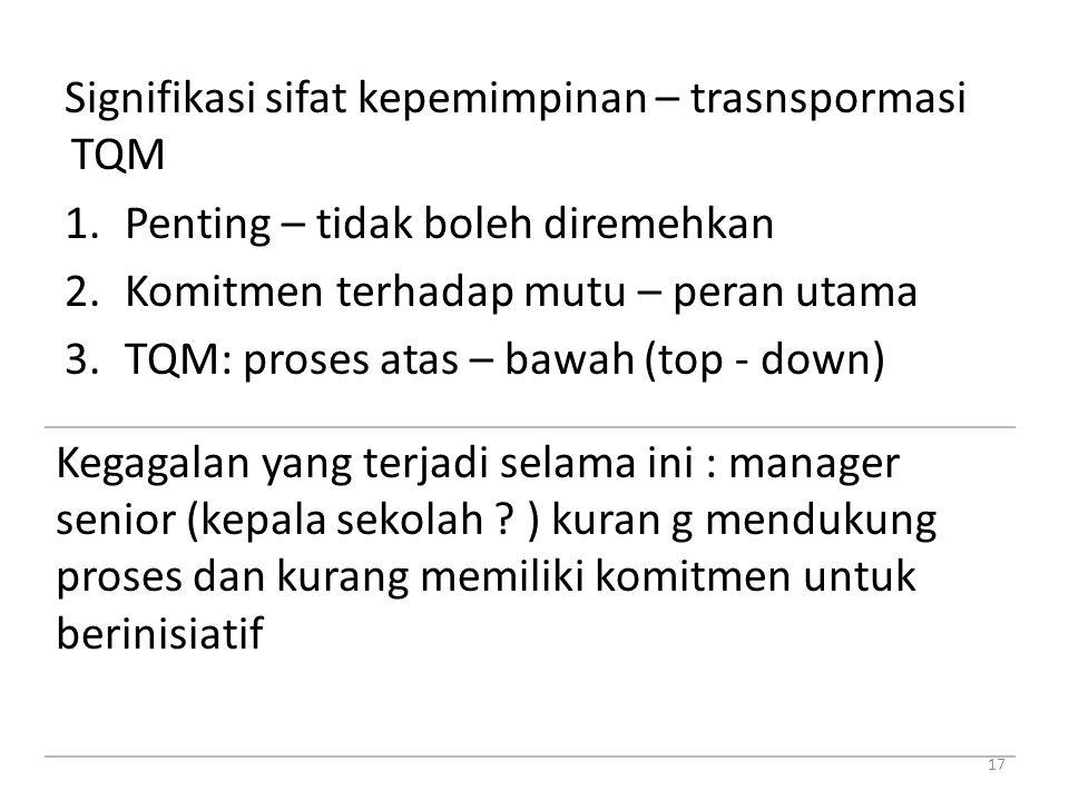 Signifikasi sifat kepemimpinan – trasnspormasi TQM