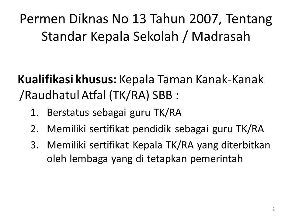 Permen Diknas No 13 Tahun 2007, Tentang Standar Kepala Sekolah / Madrasah