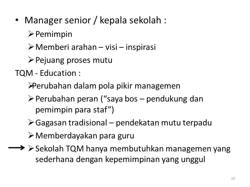Manager senior / kepala sekolah :