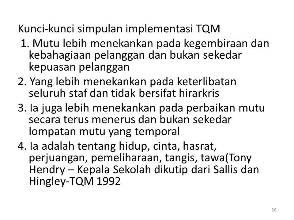 Kunci-kunci simpulan implementasi TQM 1