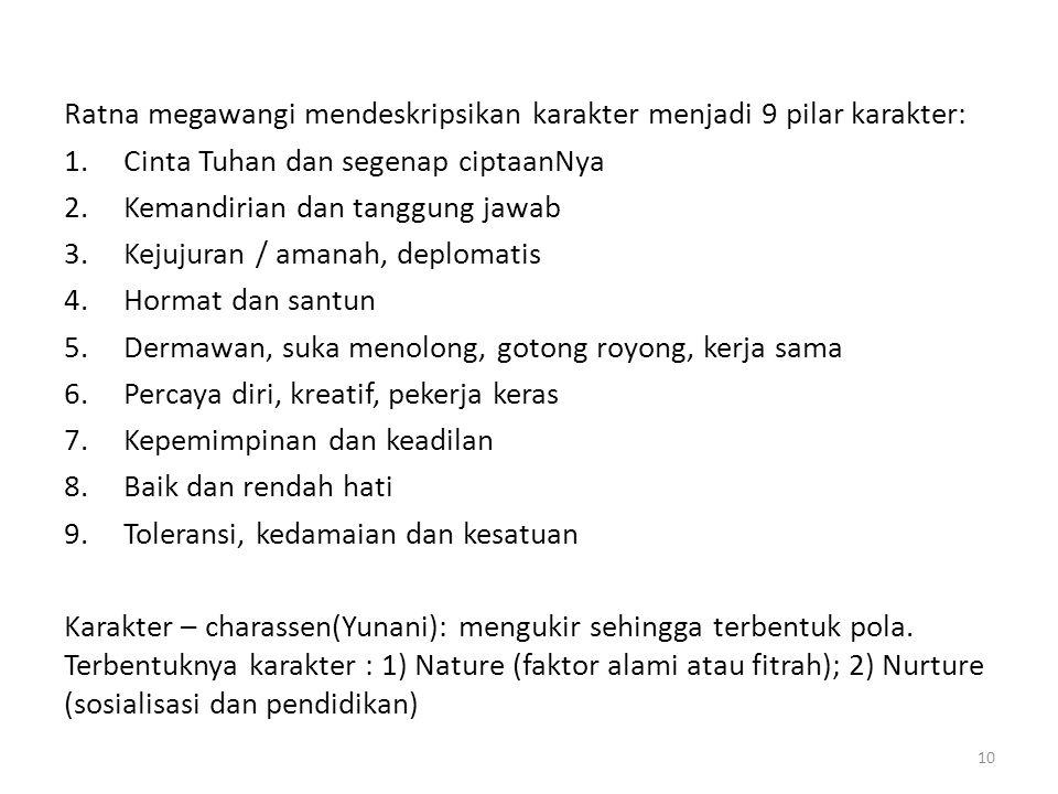 Ratna megawangi mendeskripsikan karakter menjadi 9 pilar karakter: