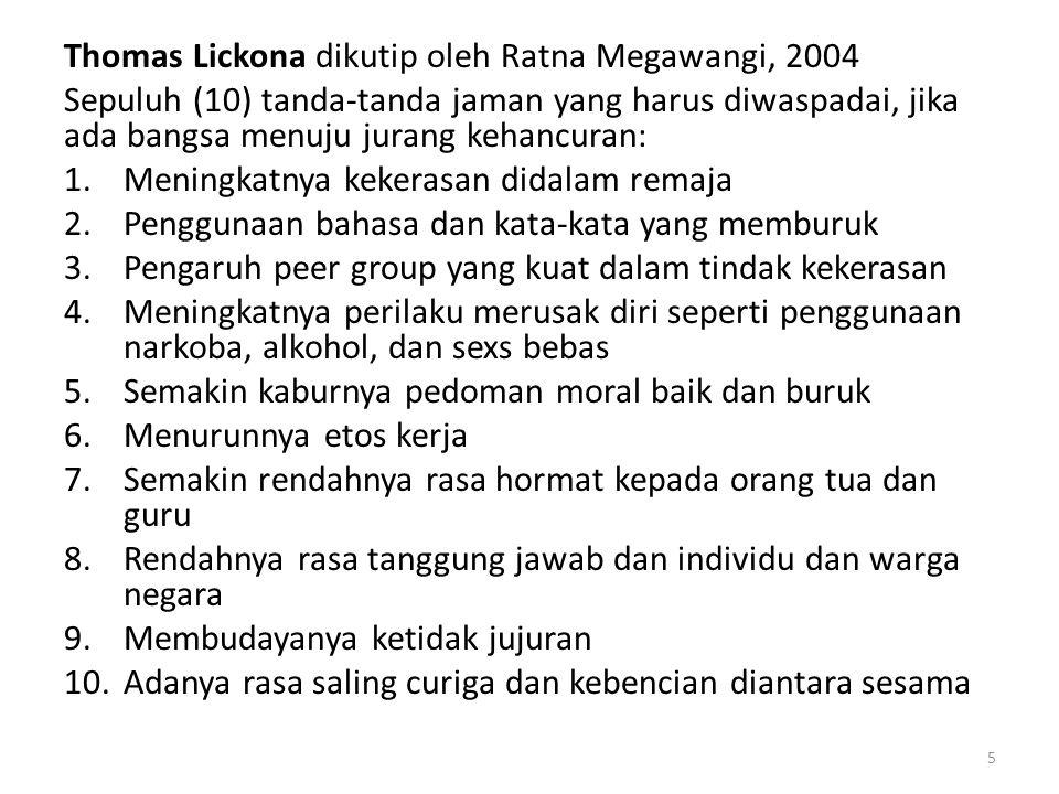 Thomas Lickona dikutip oleh Ratna Megawangi, 2004
