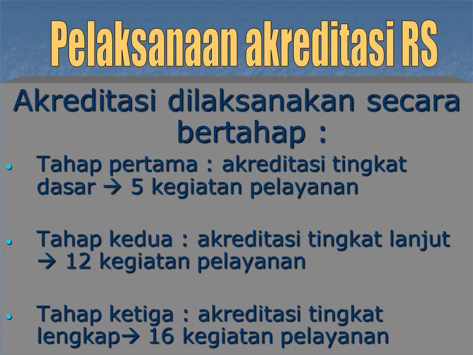 Akreditasi dilaksanakan secara bertahap :