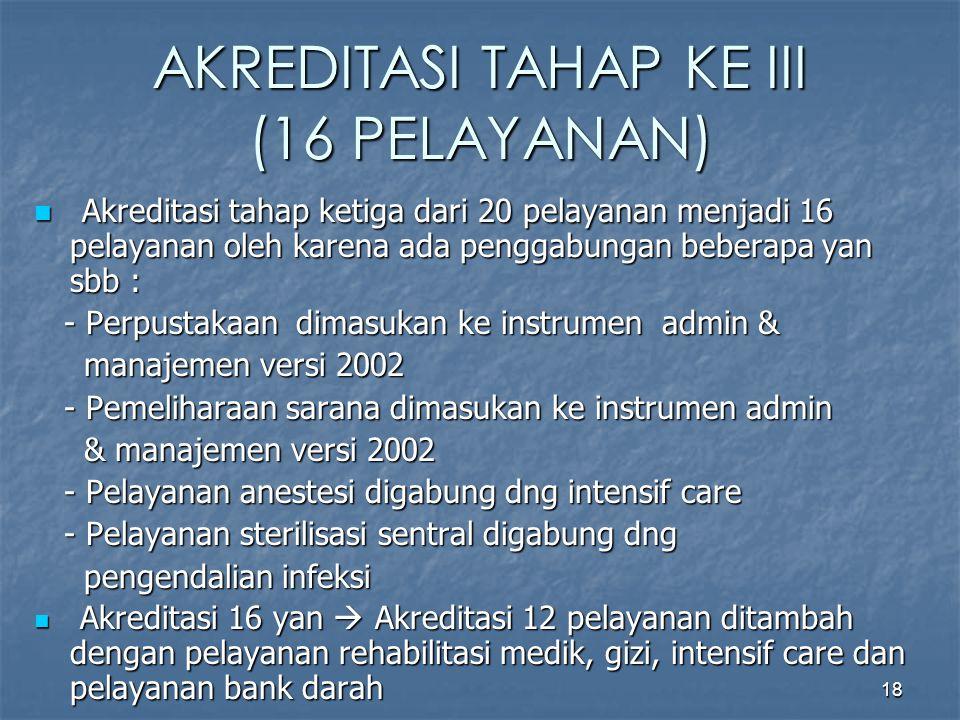 AKREDITASI TAHAP KE III (16 PELAYANAN)