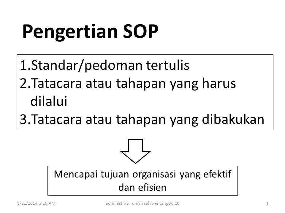 Pengertian SOP Standar/pedoman tertulis