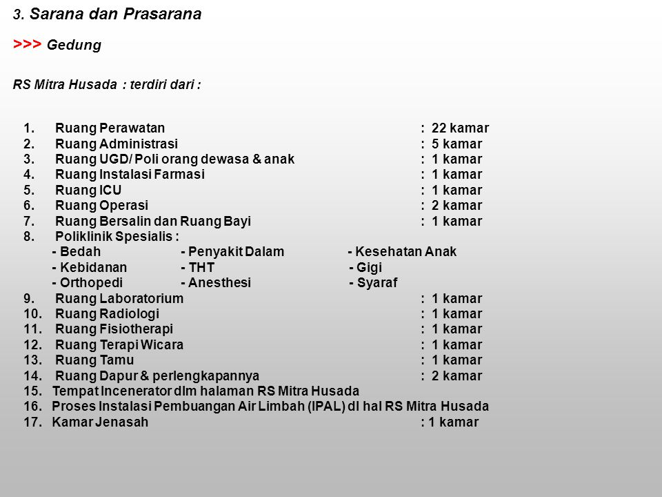 RS. MITRA HUSADA >>> Gedung 3. Sarana dan Prasarana