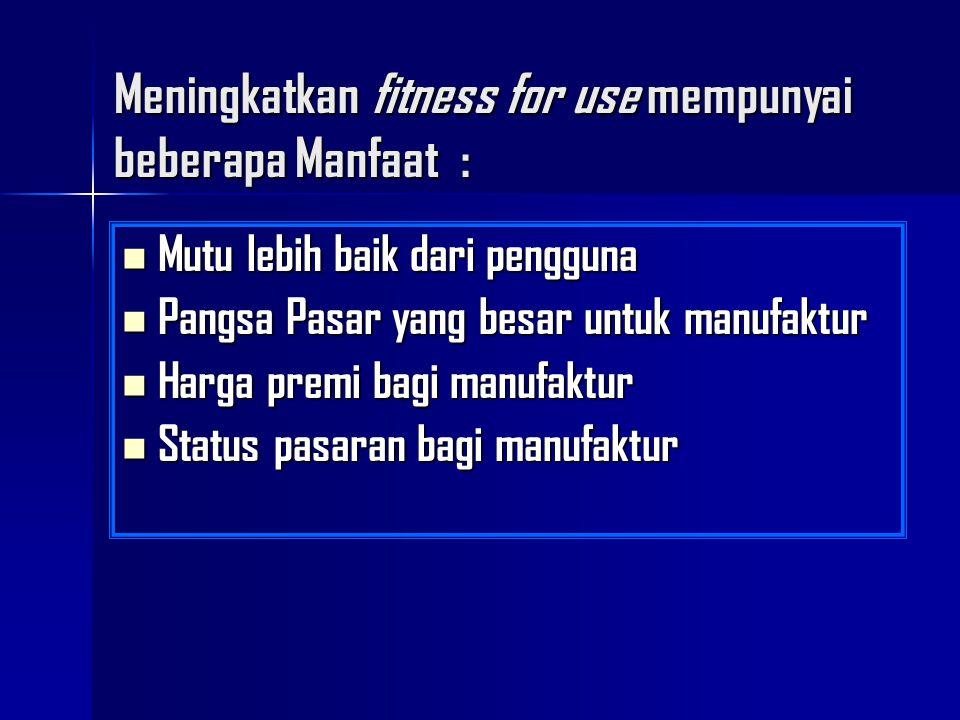 Meningkatkan fitness for use mempunyai beberapa Manfaat :