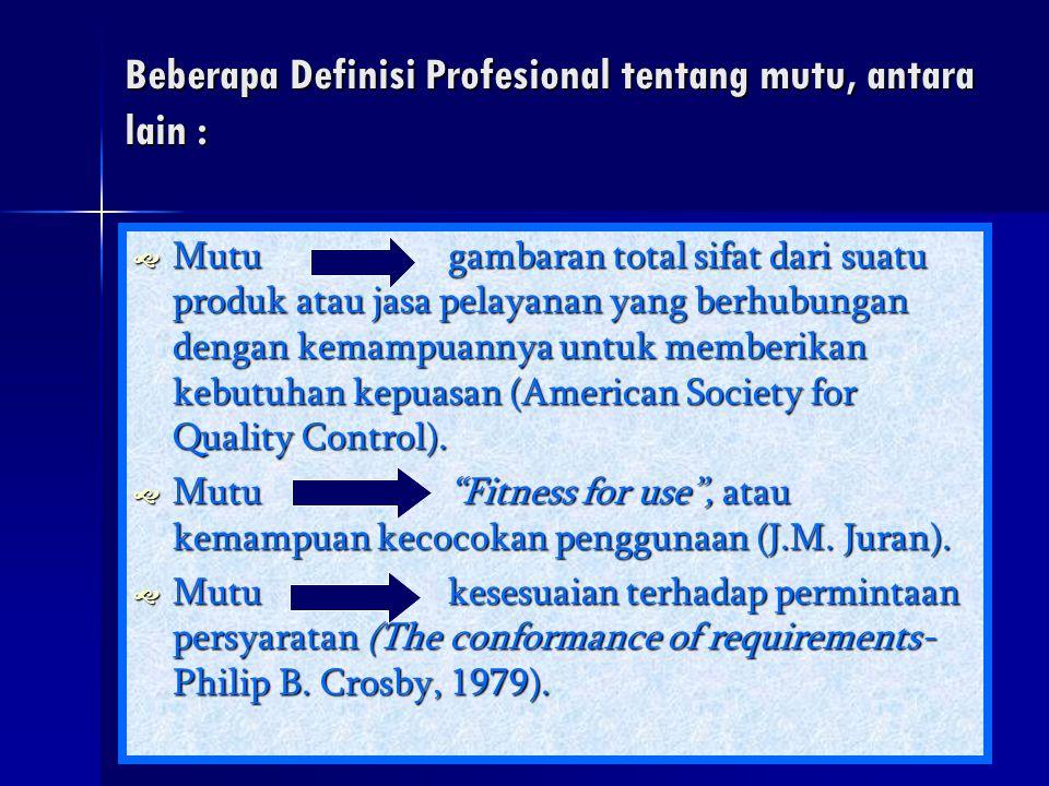 Beberapa Definisi Profesional tentang mutu, antara lain :