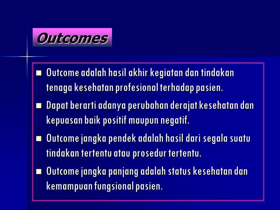 Outcomes Outcome adalah hasil akhir kegiatan dan tindakan tenaga kesehatan profesional terhadap pasien.