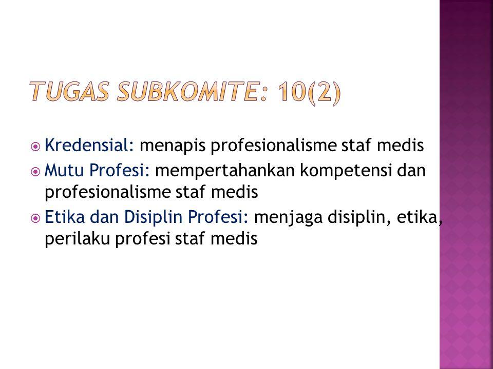 Tugas subkomite: 10(2) Kredensial: menapis profesionalisme staf medis