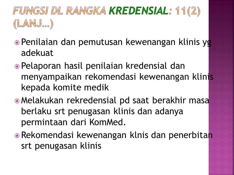 Fungsi dl rangka kredensial: 11(2) (lanj…)