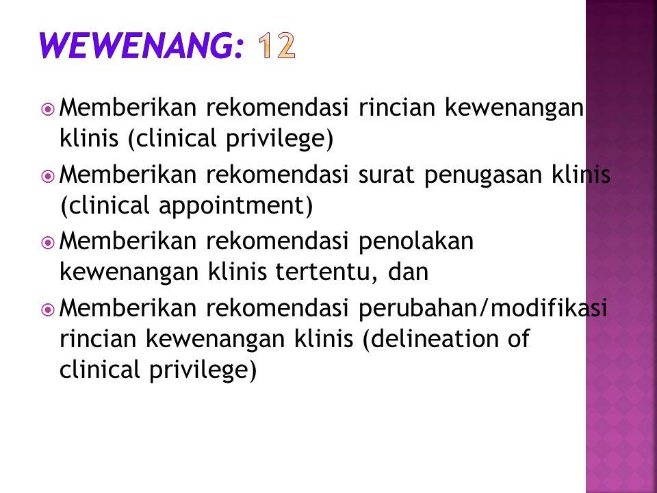 Wewenang: 12 Memberikan rekomendasi rincian kewenangan klinis (clinical privilege)