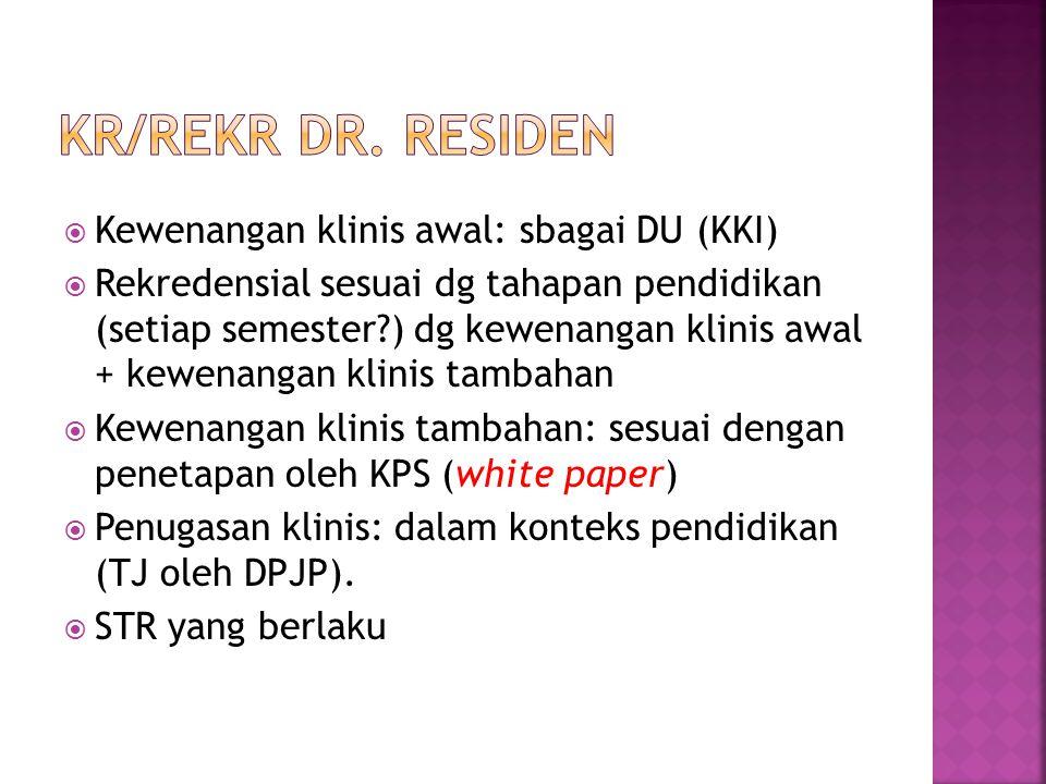 Kr/rekr Dr. residen Kewenangan klinis awal: sbagai DU (KKI)
