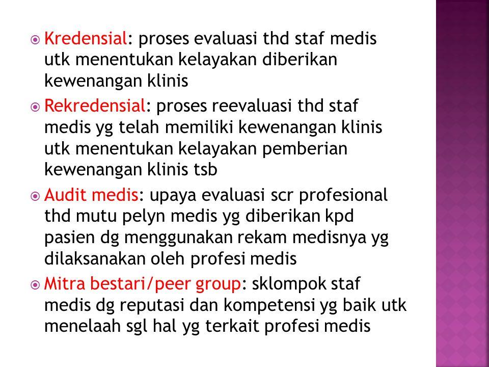 Kredensial: proses evaluasi thd staf medis utk menentukan kelayakan diberikan kewenangan klinis