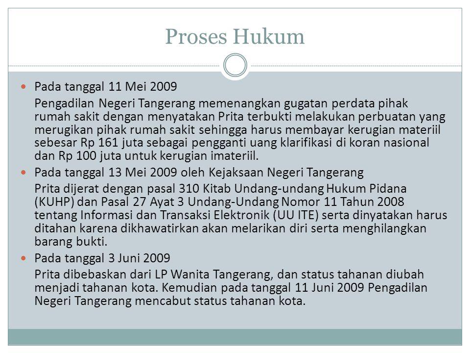 Proses Hukum Pada tanggal 11 Mei 2009