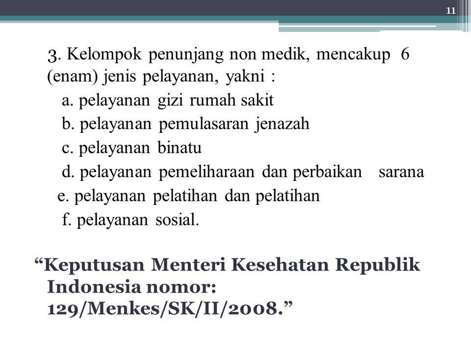 3. Kelompok penunjang non medik, mencakup 6 (enam) jenis pelayanan, yakni : a.