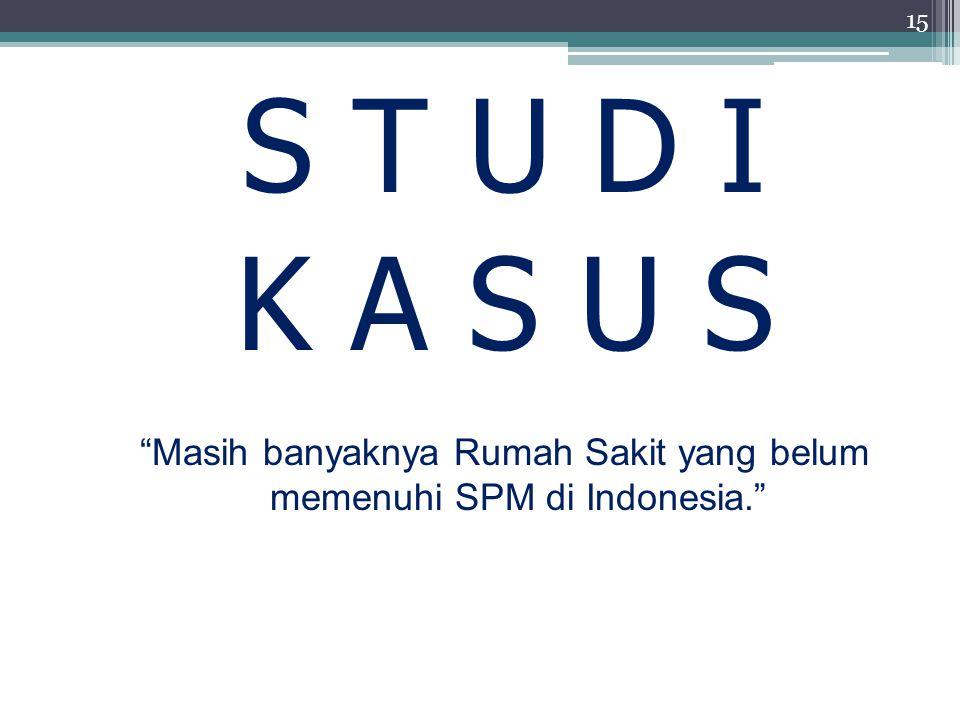 Masih banyaknya Rumah Sakit yang belum memenuhi SPM di Indonesia.