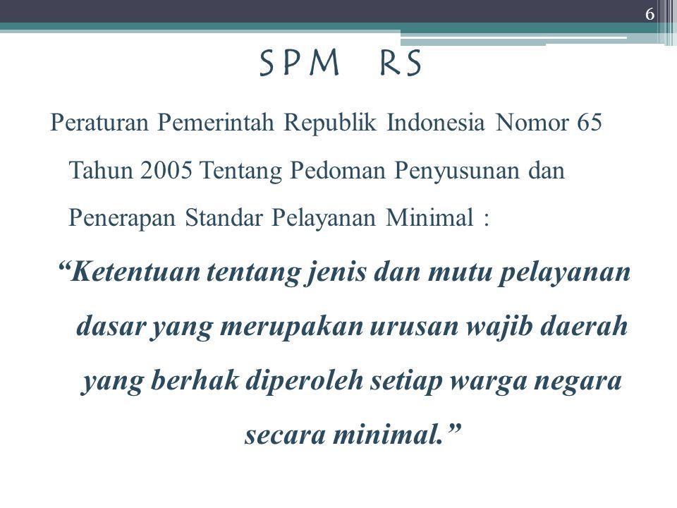 SPM RS Peraturan Pemerintah Republik Indonesia Nomor 65 Tahun 2005 Tentang Pedoman Penyusunan dan Penerapan Standar Pelayanan Minimal :