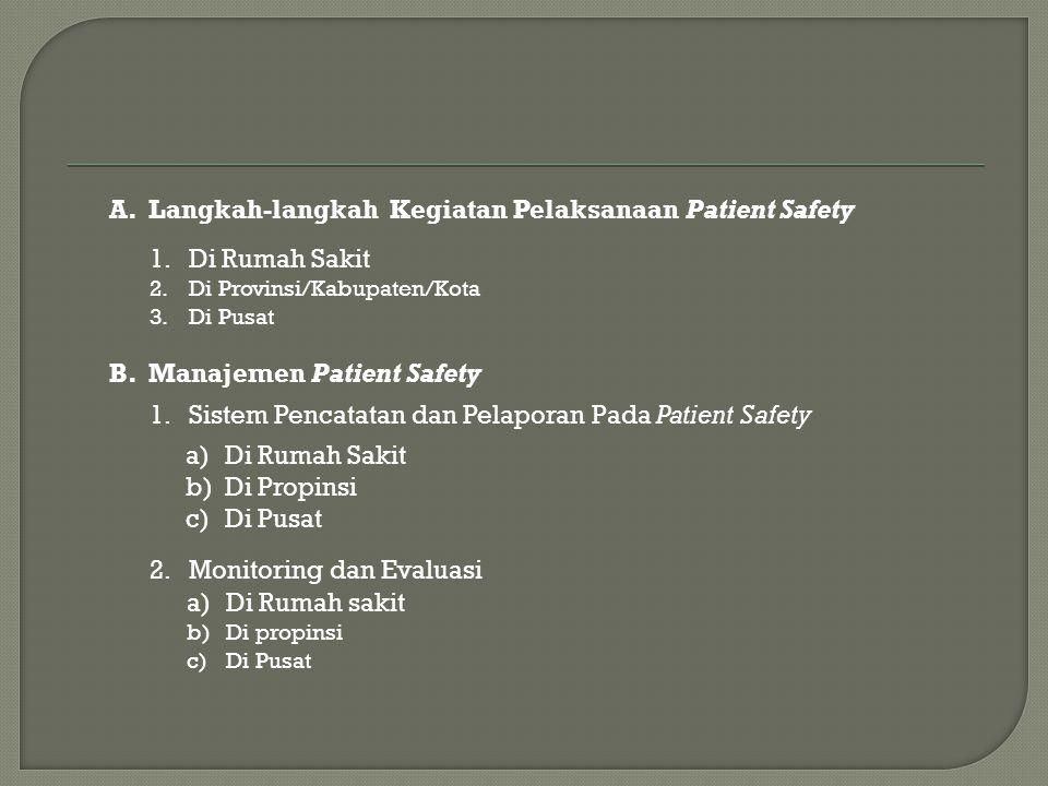 Langkah-langkah Kegiatan Pelaksanaan Patient Safety