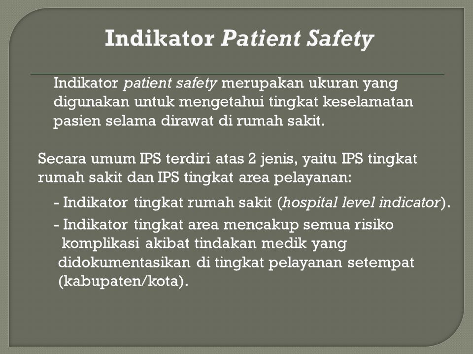 Indikator Patient Safety