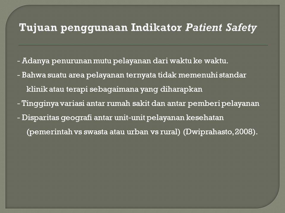 Tujuan penggunaan Indikator Patient Safety