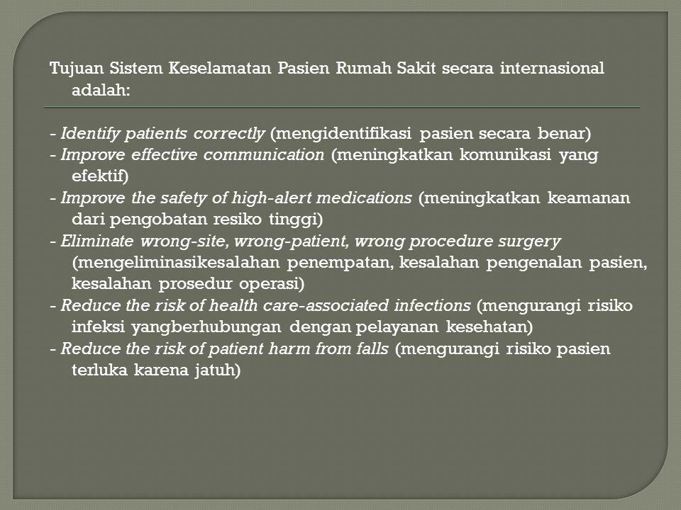 Tujuan Sistem Keselamatan Pasien Rumah Sakit secara internasional adalah: