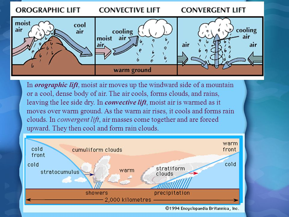 In orographic lift, moist air moves up the windward side of a mountain or a cool, dense body of air.