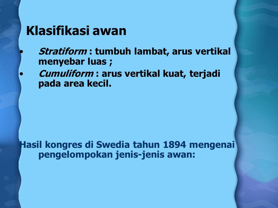 Klasifikasi awan Stratiform : tumbuh lambat, arus vertikal menyebar luas ; Cumuliform : arus vertikal kuat, terjadi pada area kecil.