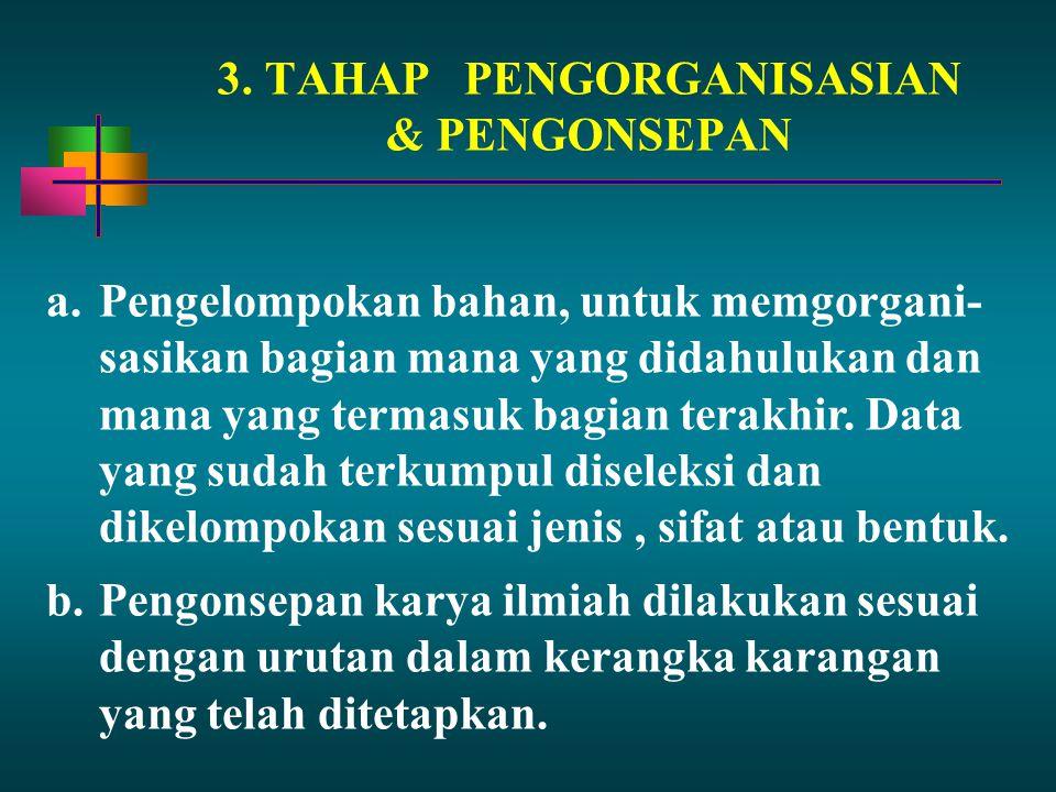 3. TAHAP PENGORGANISASIAN & PENGONSEPAN