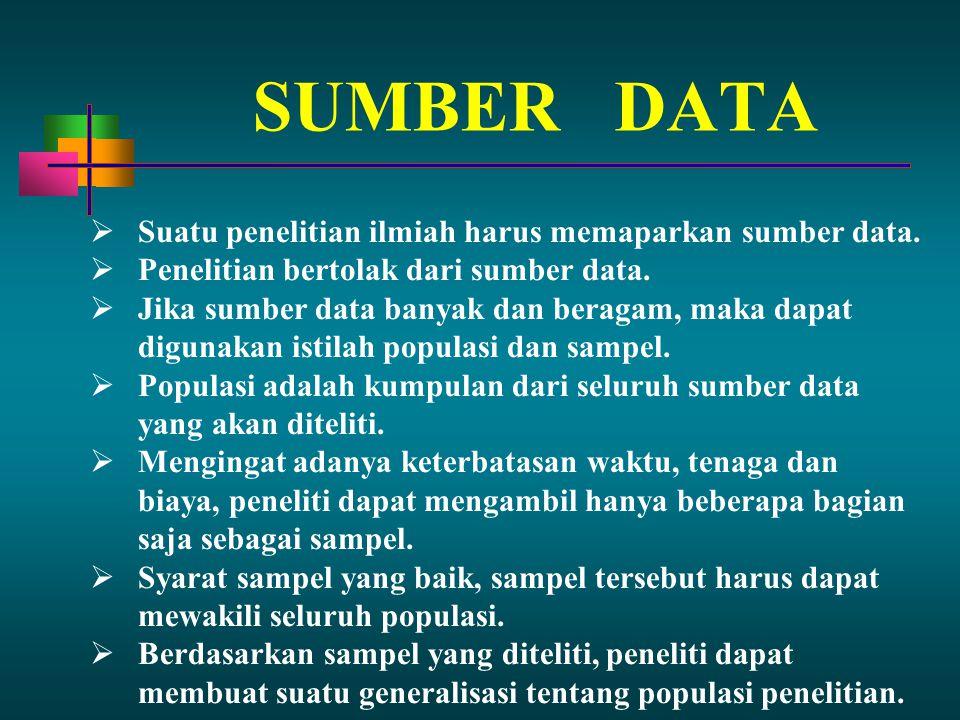 SUMBER DATA Suatu penelitian ilmiah harus memaparkan sumber data.