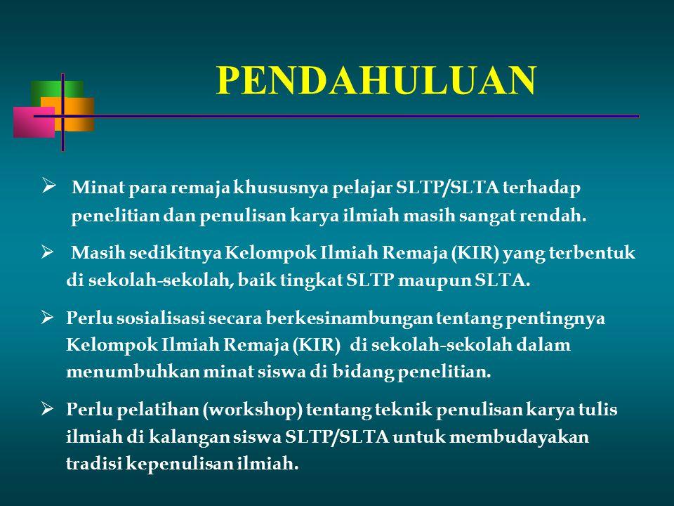 PENDAHULUAN Minat para remaja khususnya pelajar SLTP/SLTA terhadap