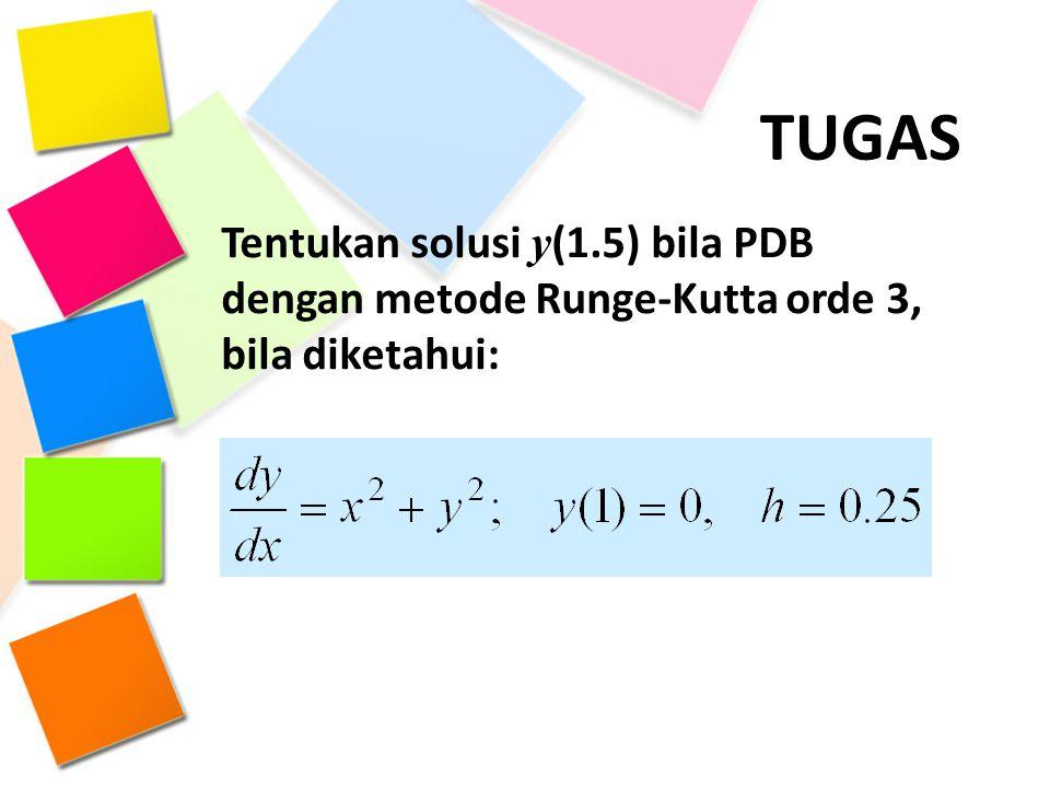 TUGAS Tentukan solusi y(1.5) bila PDB dengan metode Runge-Kutta orde 3, bila diketahui: