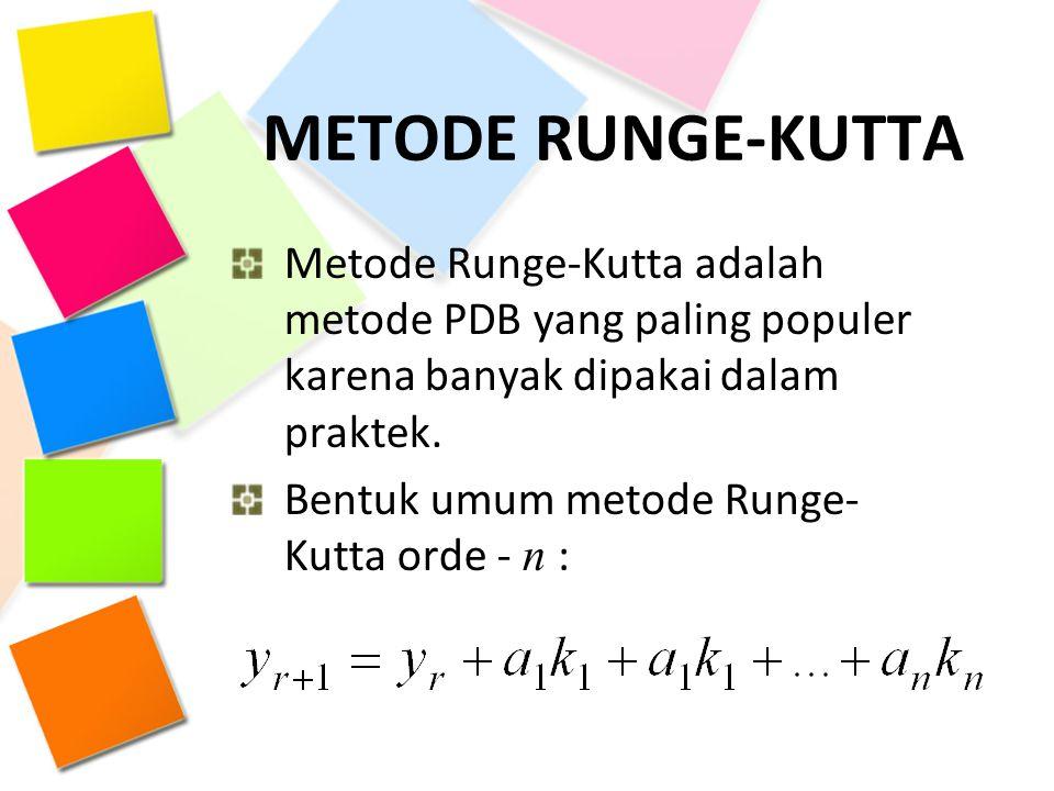 METODE RUNGE-KUTTA Metode Runge-Kutta adalah metode PDB yang paling populer karena banyak dipakai dalam praktek.