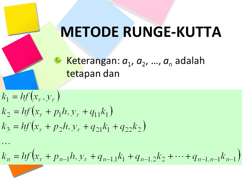 METODE RUNGE-KUTTA Keterangan: a1, a2, …, an adalah tetapan dan