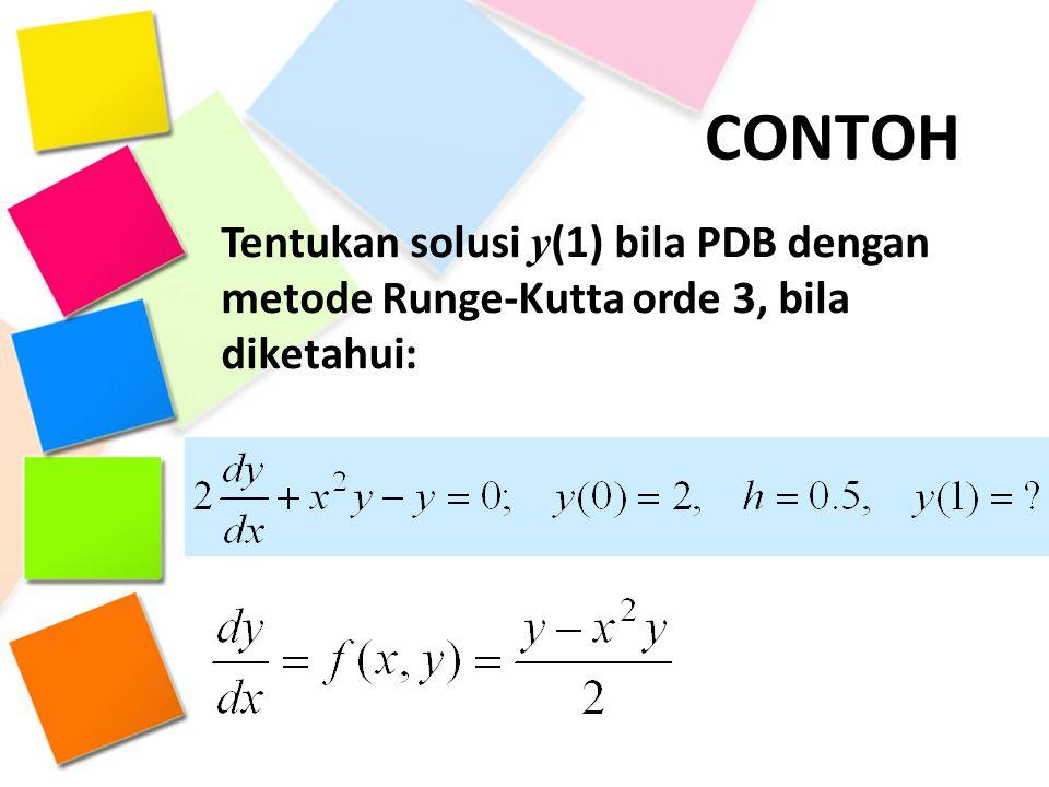 CONTOH Tentukan solusi y(1) bila PDB dengan metode Runge-Kutta orde 3, bila diketahui: