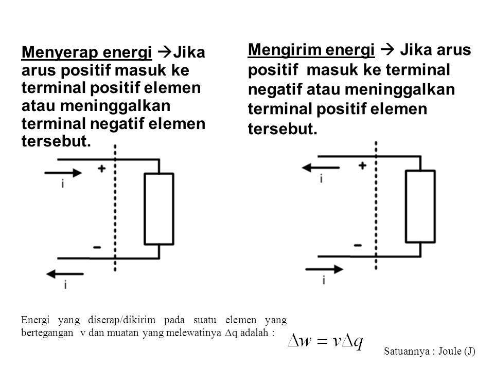 Mengirim energi  Jika arus positif masuk ke terminal negatif atau meninggalkan terminal positif elemen tersebut.