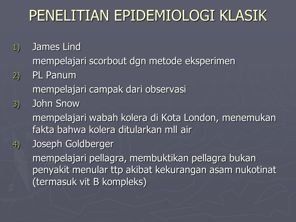 PENELITIAN EPIDEMIOLOGI KLASIK