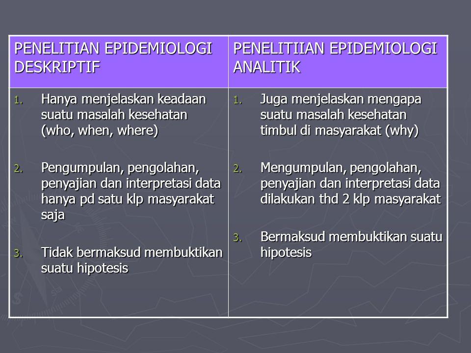 PENELITIAN EPIDEMIOLOGI DESKRIPTIF PENELITIIAN EPIDEMIOLOGI ANALITIK